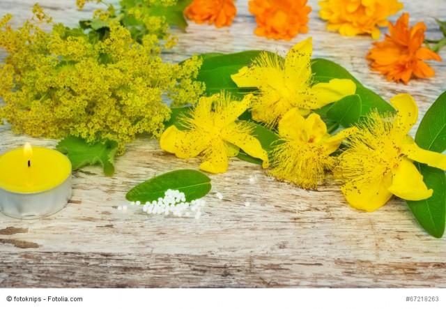 Gelbe Heilkräuter und Globuli